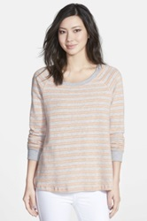 Splendid Double Stripe Long Sleeve Shirt Orange