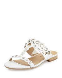 Neiman Marcus Emmery Studded Leather T Strap Sandal White