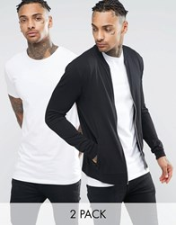 Asos Lightweight Muscle Jersey Bomber Jacket Muscle T Shirt Set Black White Multi