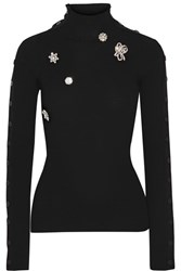 Preen By Thornton Bregazzi Mara Embellished Wool Sweater Black