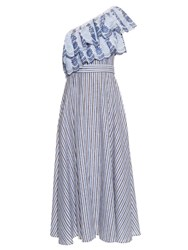 Gul Hurgel One Shoulder Ruffle Trimmed Striped Dress Blue Multi