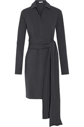 Tomas Maier Knotted Stretch Cotton Poplin Dress Charcoal