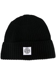 Stone Island Ribbed Knit Beanie Black