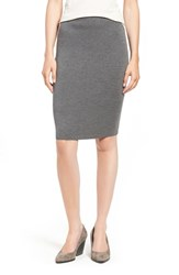 Eileen Fisher Petite Women's Knee Length Wool Crepe Knit Skirt Ash