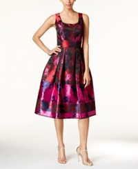 Ivanka Trump Floral Print Fit And Flare Dress Red Pink