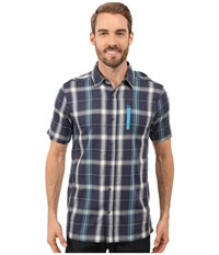 Icebreaker Compass Ii Short Sleeve Shirt Plaid Fathom Heather Cyan Men's Clothing Gray