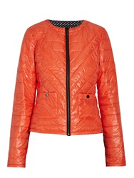 Morgan Quilted Down Jacket With Stitched Detail Orange