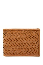 Cole Haan Leather Woven Slim Bifold Wallet Brown