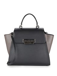 Zac Posen Eartha Colorblock Leather Satchel Black Brown