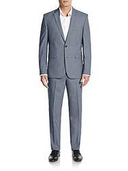 Vince Camuto Slim Fit Mini Check Wool Suit Grey Shadow