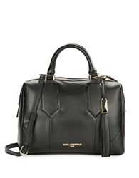 Karl Lagerfeld Smooth Leather Satchel Black