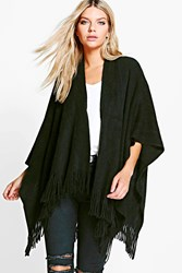 Boohoo Soft Knit Fringe Cape Cardigan Black