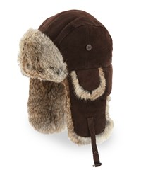 Crown Cap Suede Trapper Hat With Rabbit Fur Brown