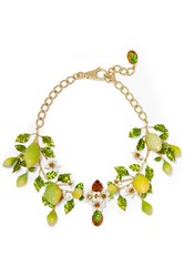 Dolce And Gabbana Gold Plated Swarovski Crystal And Enamel Necklace