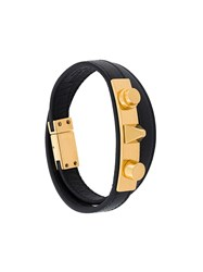 Saint Laurent 'Le Trous Clous' Double Wrap Bracelet Black