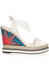 Nicholas Kirkwood Leather And Printed Silk Wedge Sandals White