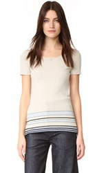 Wgaca Chanel Stripe Cashmere Sweater Previously Owned Grey Blue