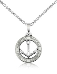 Forzieri Stainless Steel Anchor Pendant Necklace Silver
