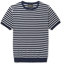 Beams Plus Striped Knitted Cotton T Shirt Blue