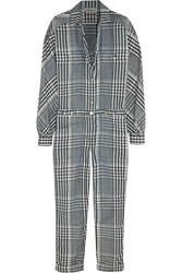 Temperley London Checked Linen And Cotton Blend Jumpsuit