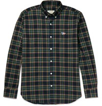 Maison Kitsune Slim Fit Button Down Collar Checked Cotton Shirt Green