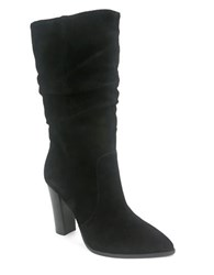 Tahari Alanna Suede Slouchy Mid Calf Boots Black