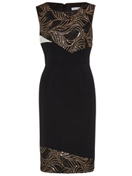 Gina Bacconi Mesh Sequin Cut Out Waves Panel Dress Black
