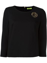 Versace Jeans Logo Plaque Cropped Sweatshirt Black