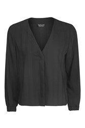 Topshop Ruched Cuff Long Sleeve Blouse Black