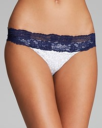 Beach Bunny Lady Lace Sequin Bikini Bottom White Navy