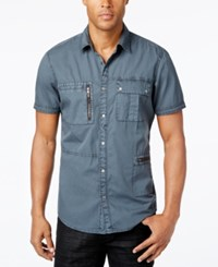 Inc International Concepts Men's Porter Multi Pocket Short Sleeve Shirt Only At Macy's Grey Magic