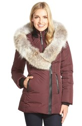 Women's Mackage Hooded Down Parka With Inset Bib And Genuine Coyote Fur Trim Bordeaux