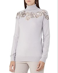 Reiss Alo Floral Lace Merino Wool Sweater Stone