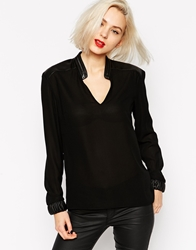 L.A.M.B. L.A.M.B Long Sleeve Blouse With Pu Zipped Collar Black