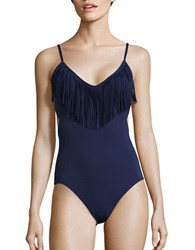 Vince Camuto Fringed One Piece Swimsuit Navy