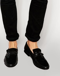 Asos Tassel Loafers In Black Leather With Woven Lace