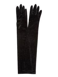 Jacques Vert Long Velvet Evening Gloves Black