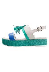 Tata Italia Platform Sandals Light Grey Green Turquoise