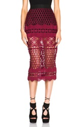 Self Portrait Cutwork Lace Pencil Skirt In Red