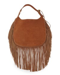 Ralph Lauren Flat Suede Hobo Bag W Fringe Brown