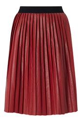 James Lakeland Faux Leather Pleat Skirt Red