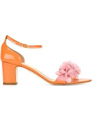 Rupert Sanderson Embellished Strap Sandals Yellow And Orange
