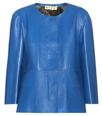 Marni Leather Jacket Blue