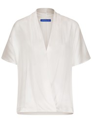 Winser London Silk And Jersey Short Sleeve Wrap Top Ivory