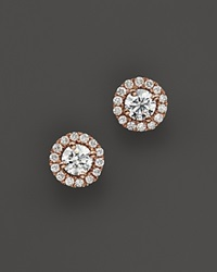 Bloomingdale's Diamond Halo Studs In 14K Rose Gold .30 Ct. T.W. Rose White