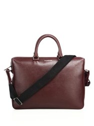 Ermenegildo Zegna Large Leather Messenger Bag Red
