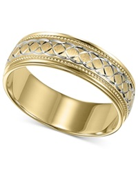 Macy's Men's 10K Gold And 10K White Gold Ring Engraved Wedding Band