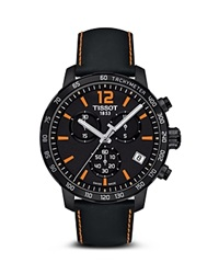 Tissot Quickster Men's Quartz Chronograph Black And Orange Dial Watch 42Mm