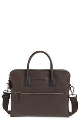 Men's Salvatore Ferragamo 'Icaro' Double Compartment Calfskin Leather Briefcase