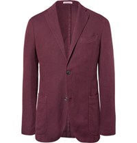 Boglioli Red Slim Fit Unstructured Cotton Linen And Silk Blend Blazer Red
